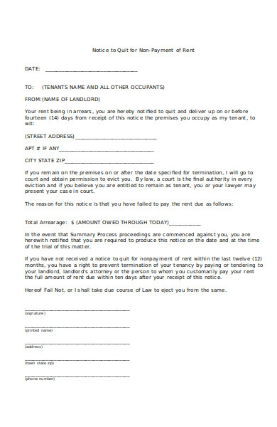 sample notice to pay forms