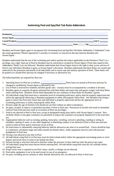 sample pool spa addendum form