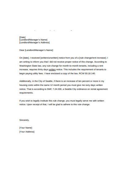 sample rent increase letter