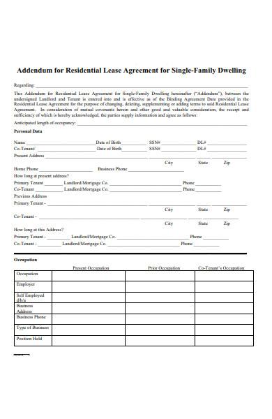 sample residential lease addendum form