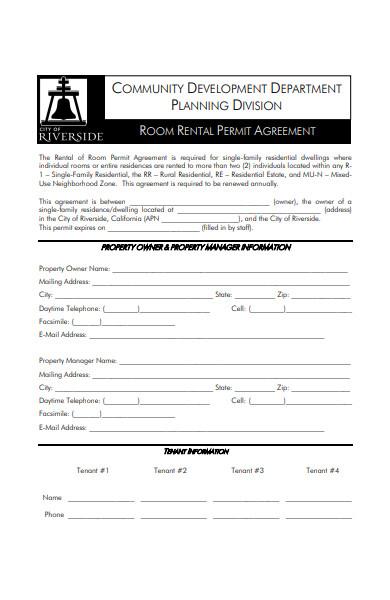 sample room rent agreement