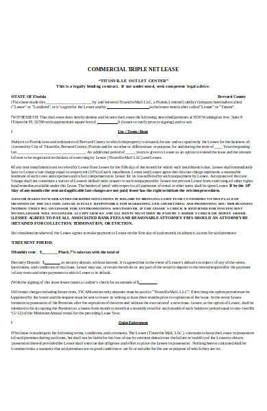 sample triple net agreement1