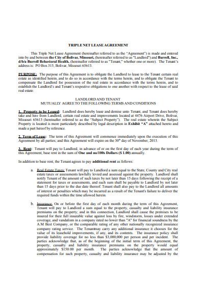 sample triple net lease agreement