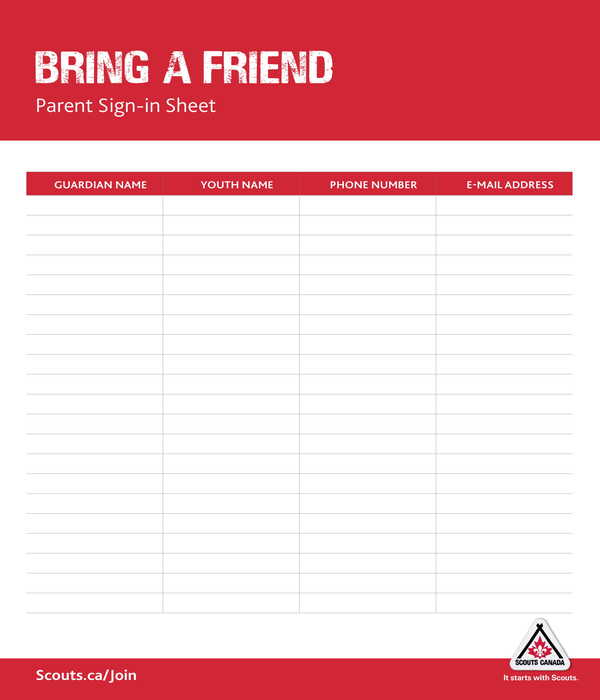 scout event parent sign in sheet