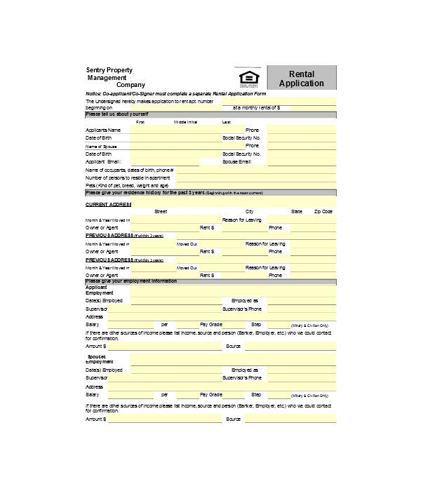simple apartment rental application forms