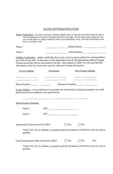 simple buyer information form