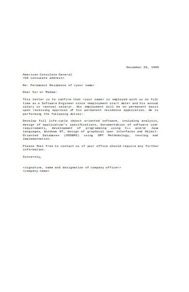 simple employment verification letter