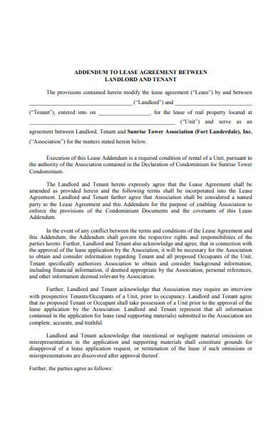 simple lease extension addendum form