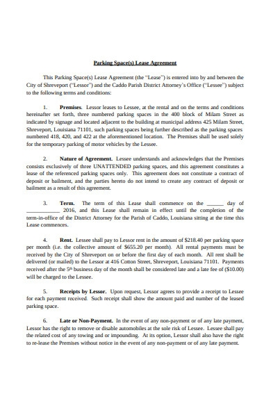 simple parking lease agreement form