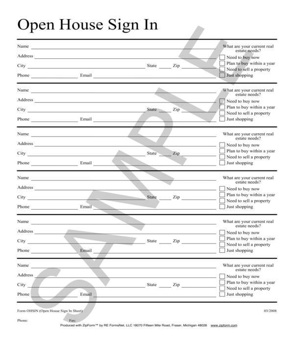 simple real estate open house sign in sheet