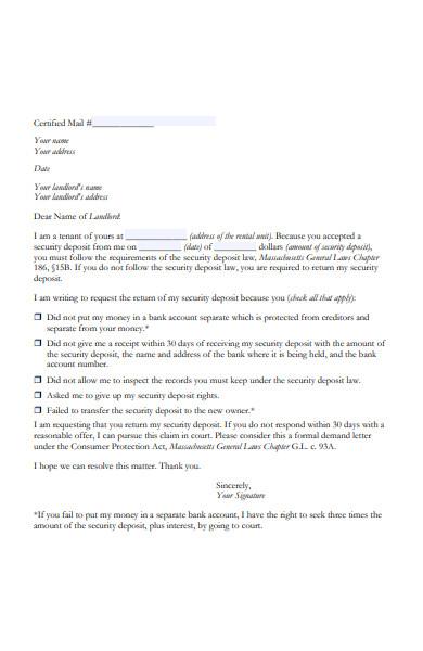 Rent Deposit Return Letter from images.sampleforms.com