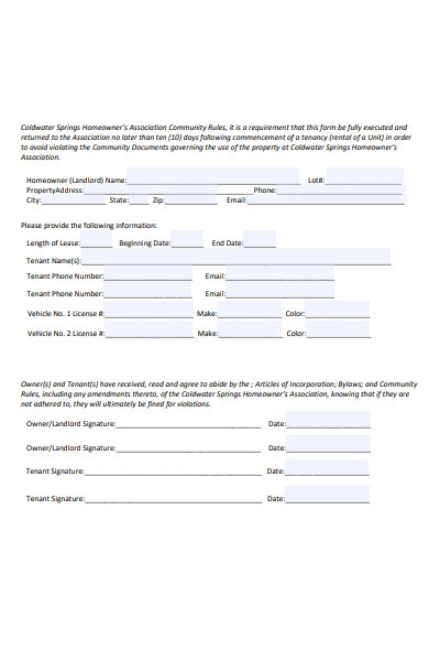 simple tenant information form