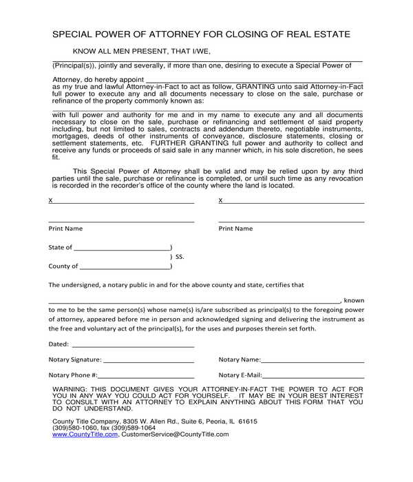 special power of attorney for real estate closing form