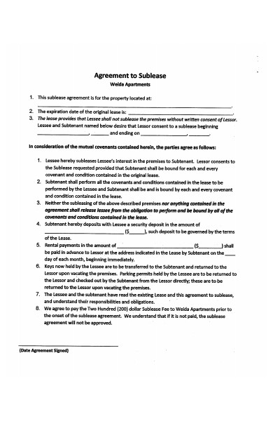 sublease agreement example