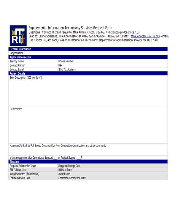 supplemental it services request form