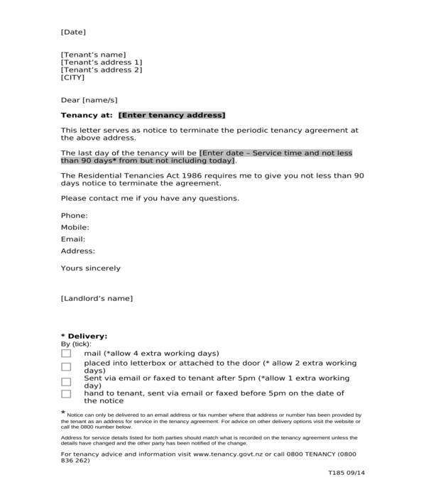 tenancy contract termination letter
