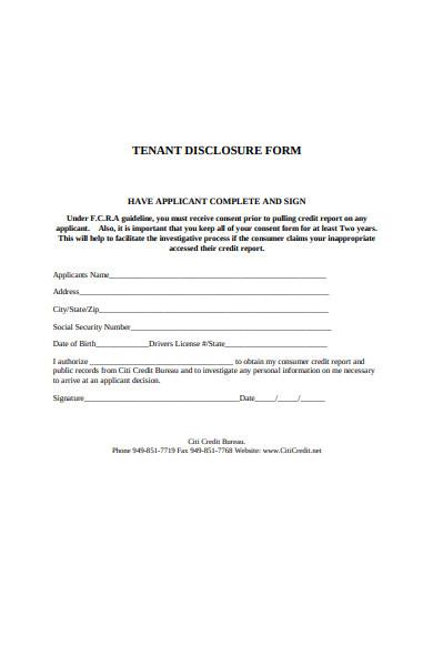tenant disclosure form