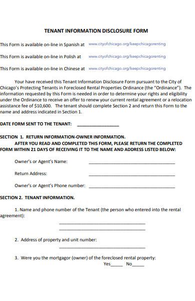 tenant information disclosure form