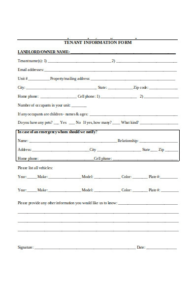 tenant information form example