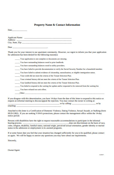 tenant rejection letter1