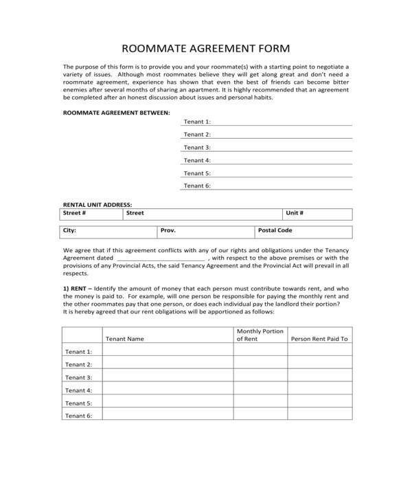 tenant and roommate rental agreement form