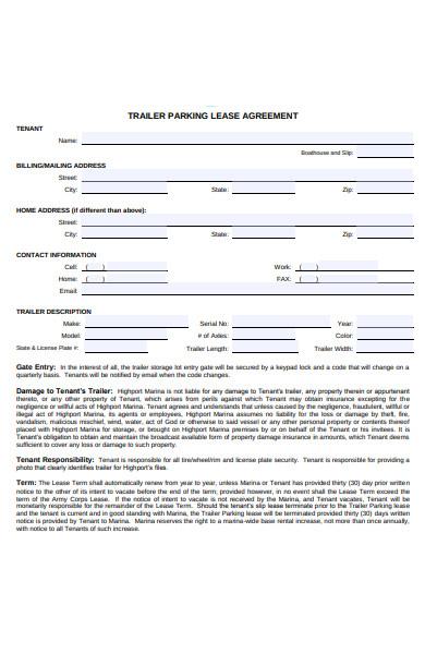 trailer parking lease agreement form