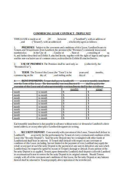 triple net contract agreement