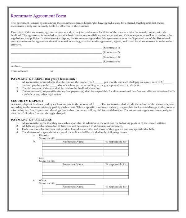 university dorm roommate rental agreement form