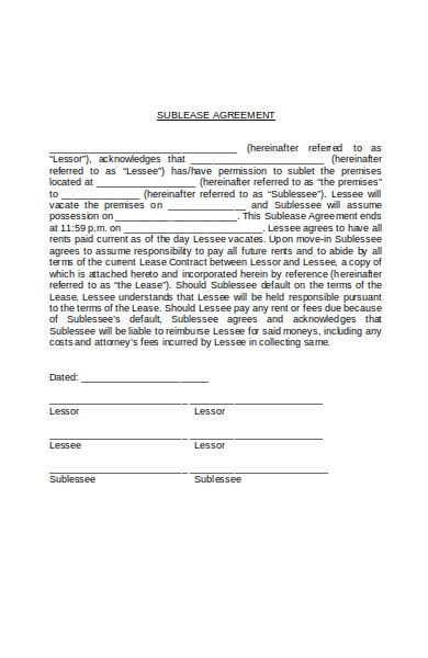 vacate sublease agreement form