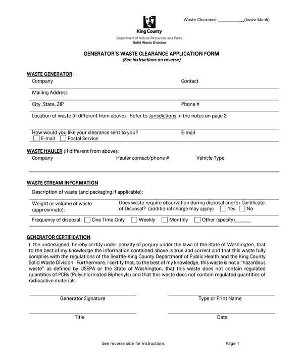 waste clearance application form