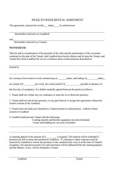 week to week agreement form