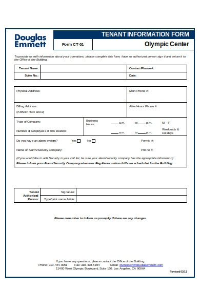 sample tenanat information form