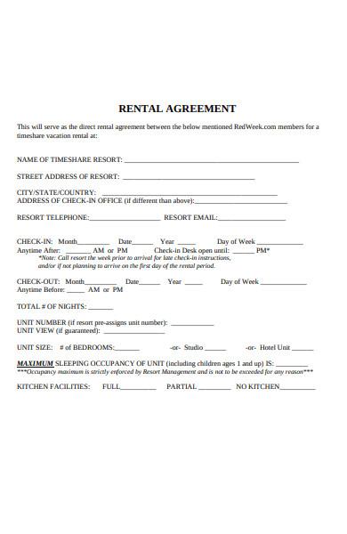 sample weekly rental agreement