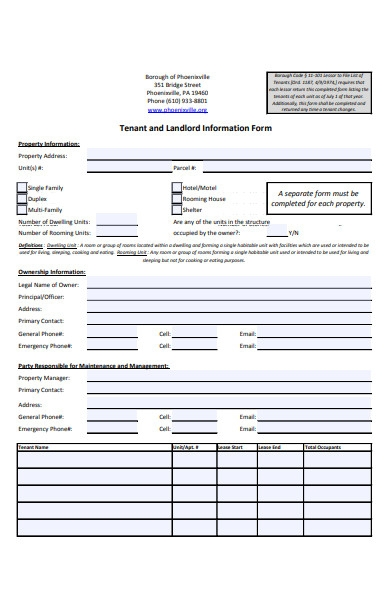 tenant contact information request form