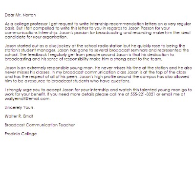 Letter Of Recommendation For College from images.sampleforms.com