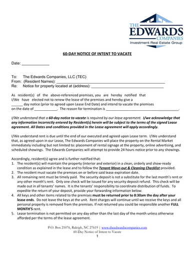 60 day notice of intent to vacate form