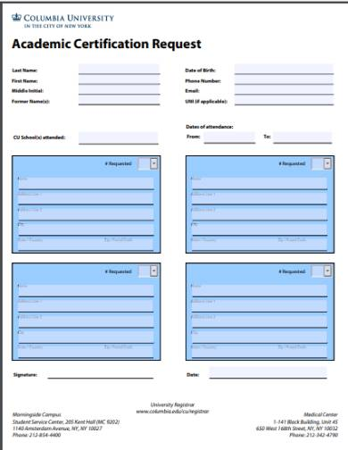 academic certification request form