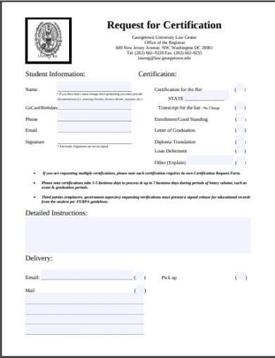 academic request for certification form