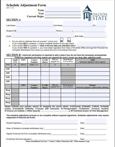 adjustment of schedule form sample
