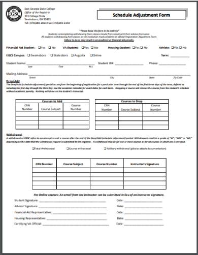 adjustment of schedule form template
