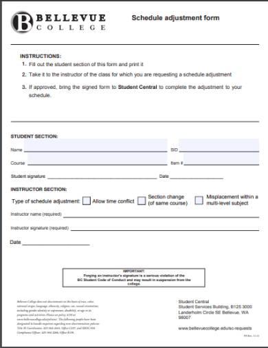 adjustment of schedule form