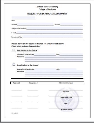 adjustment of schedule request form