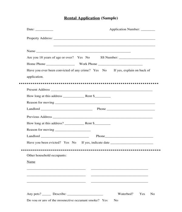 apartment rental application form template sample