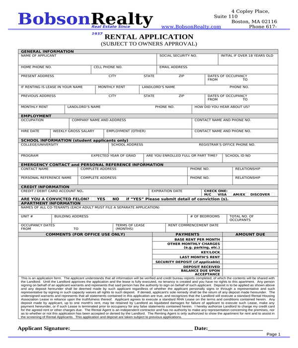 apartment rental application form in doc