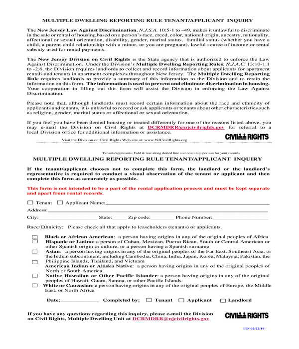 apartment tenant rental application and inquiry form