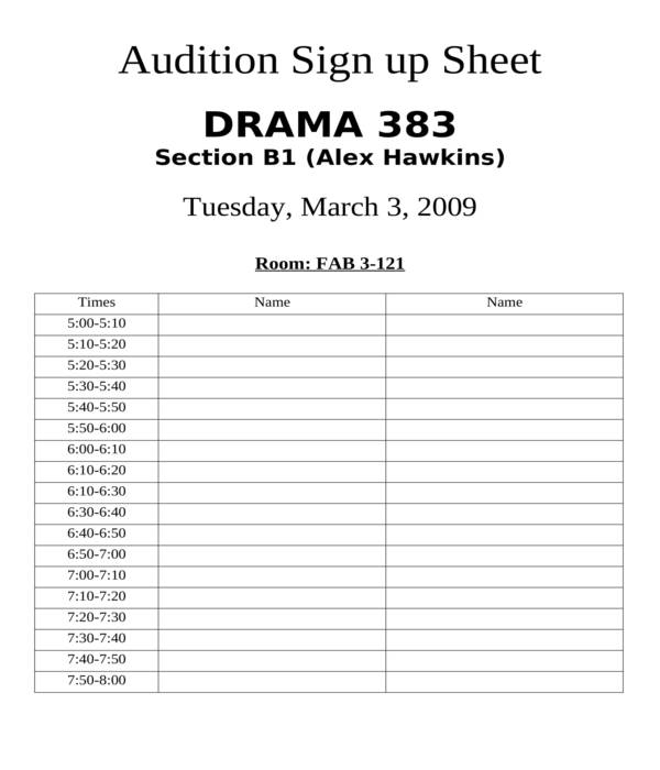 audition sign up sheet