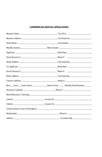 basic commercial rental application form