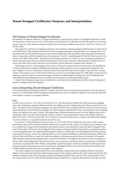 basic estoppel certificate addendum