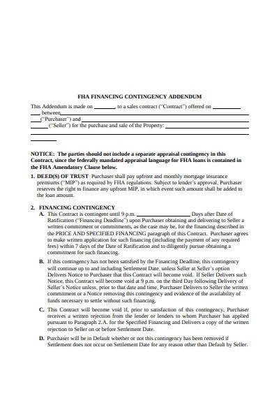basic fha financing contigency addendum