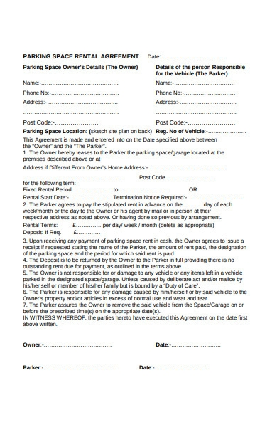 basic garage rental lease agreement